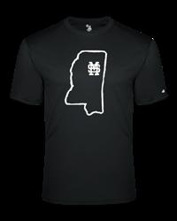 Badger State of Mississippi Outline M over S over  Starkville Tee