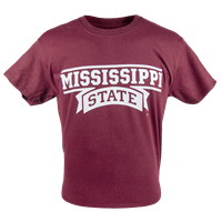 Mississippi State Wordmark Tee with Skull and Crossbones with Banner M Eyepatch Tee